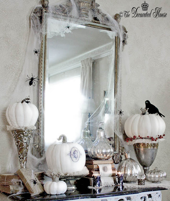 The Decorated House - Create a Welcoming Entry for Halloween - Black White and Silver