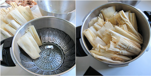 Filling the pressure cooker with tamales