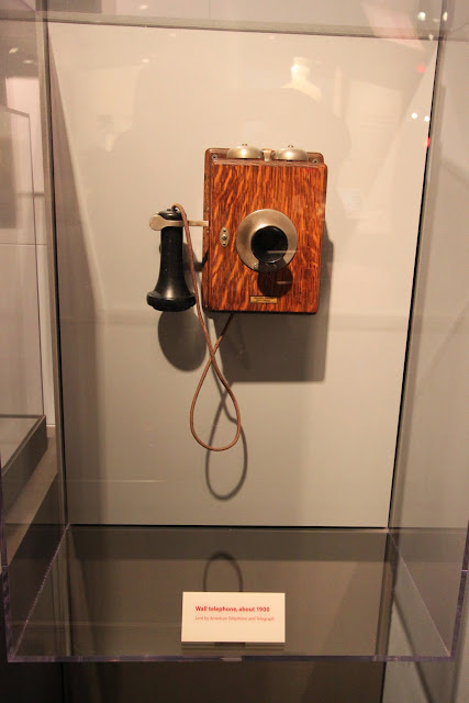 Wall telephone in 1900 at National Museum of American History in Washington DC, USA