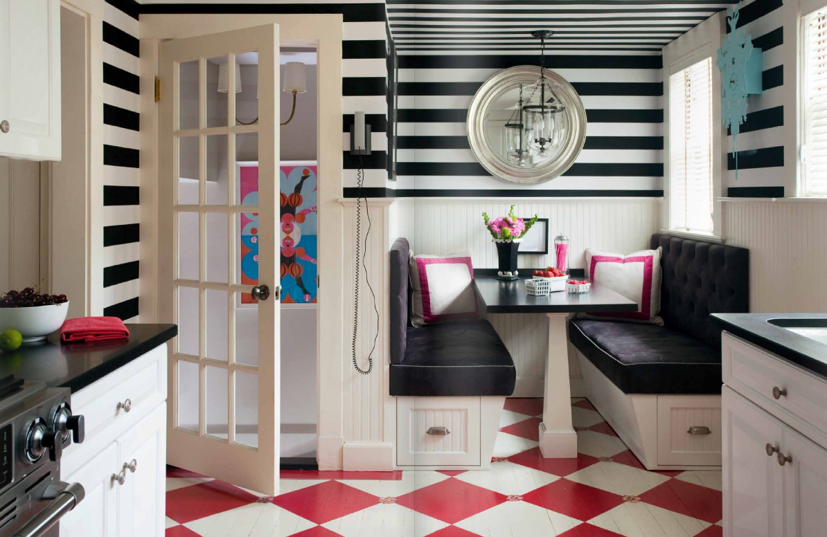 Checkerboard Kitchen Floor Black And White Stripe Flooring Pictures To Pin On Pinterest