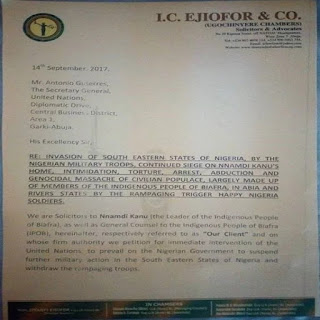 Nnamdi Kanu petitions UN, EU, US, 4 other countries over military operation in southeast { see the dojcuments}