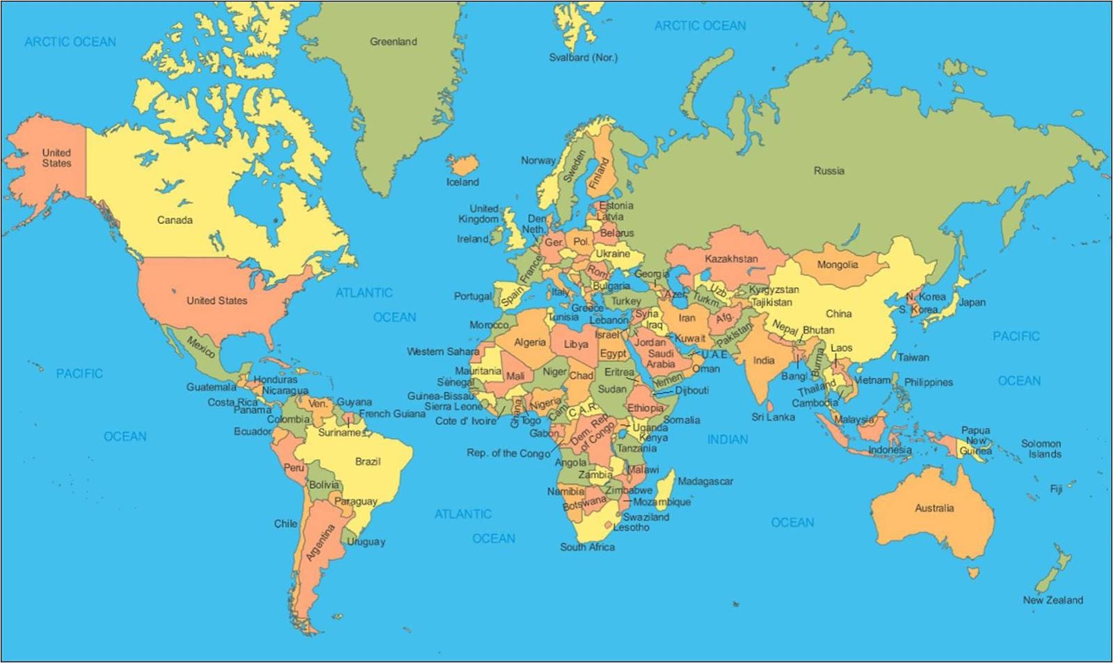 Mapamundi político para poner el nombre a los paises