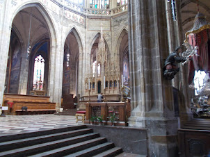 Internal view of St Vitus Cathedral in Prague Castle complex.