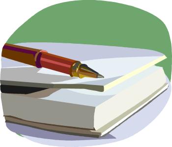stylo plume posé sur un livre (dessin)