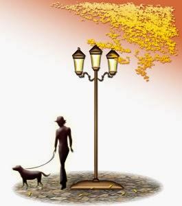 街路を散歩する秋のイラスト無料ダウンロード