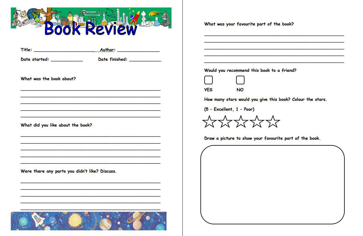 basic layout of a book review