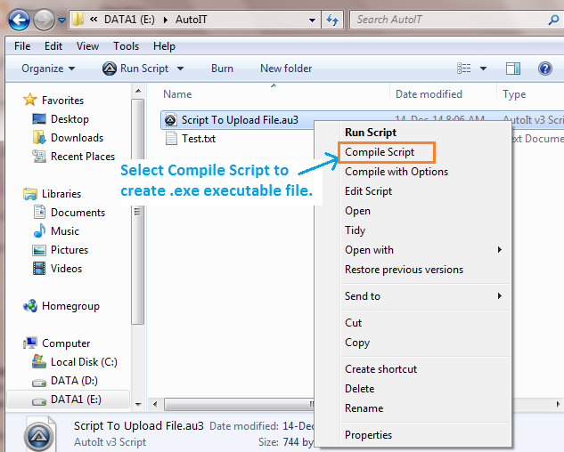 Autoit script to read a file name and write it into txt/ini file