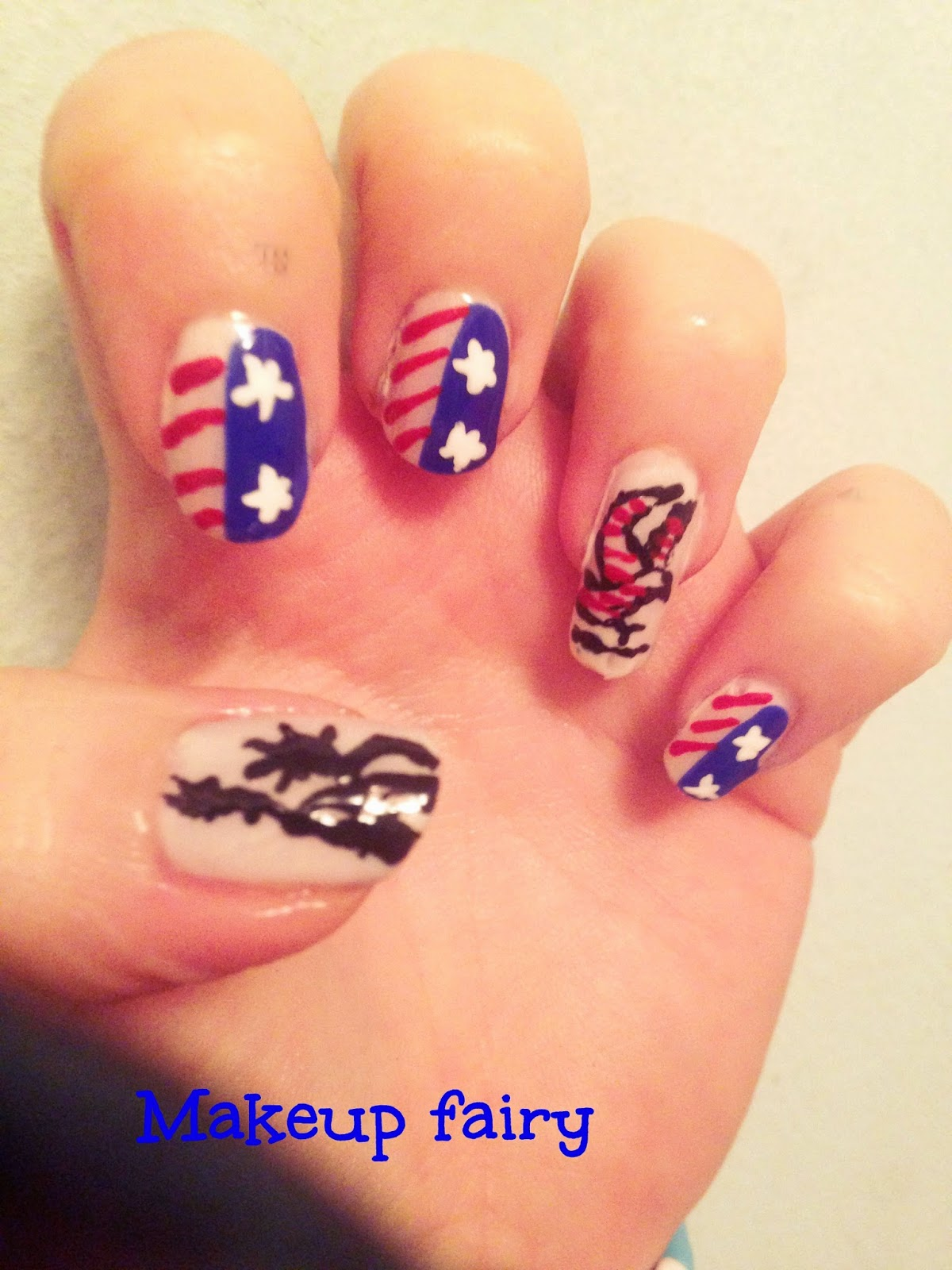 On My Thumb I Painted The Statue Of Liberty In Black While Ring Finger American Eagle Thats It Hope You Like