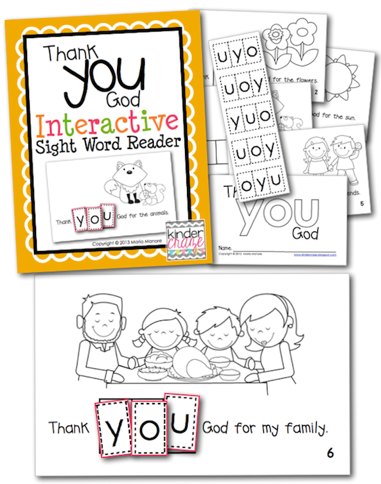 "FREE religious themed emergent reader for sight word ""you"""