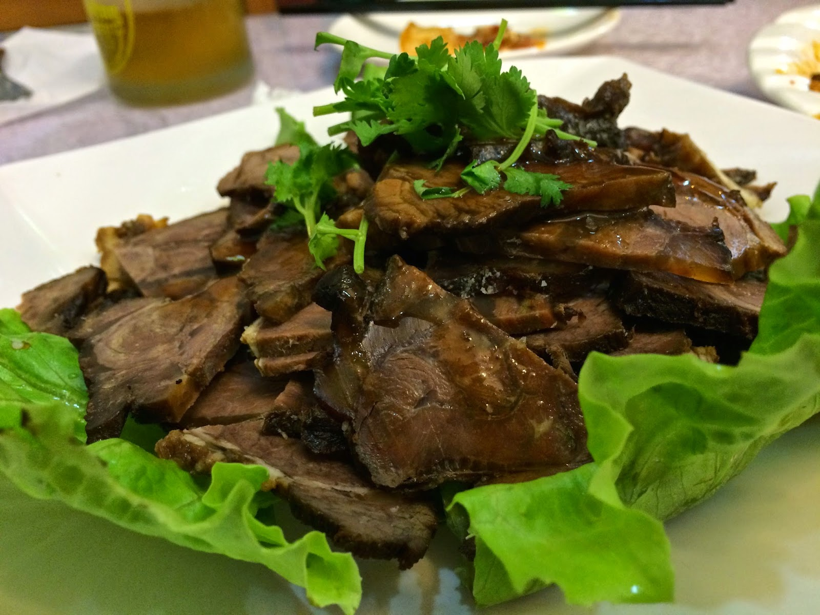 Sliced beef in soy