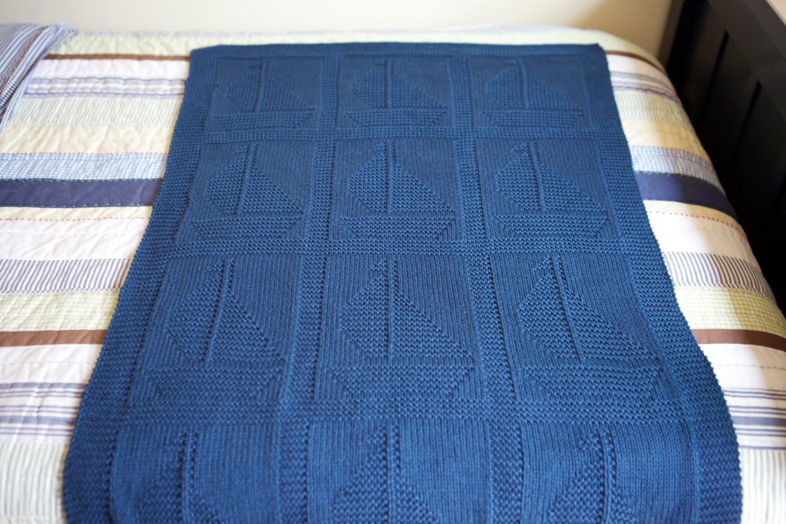 Sailboat Knitting Pattern Baby Blanket : Posh Knits: F.O.: Sail Away Blanket