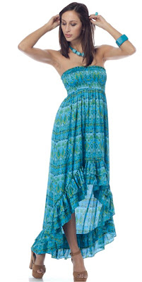 Blue Smocked Ruffle Dress