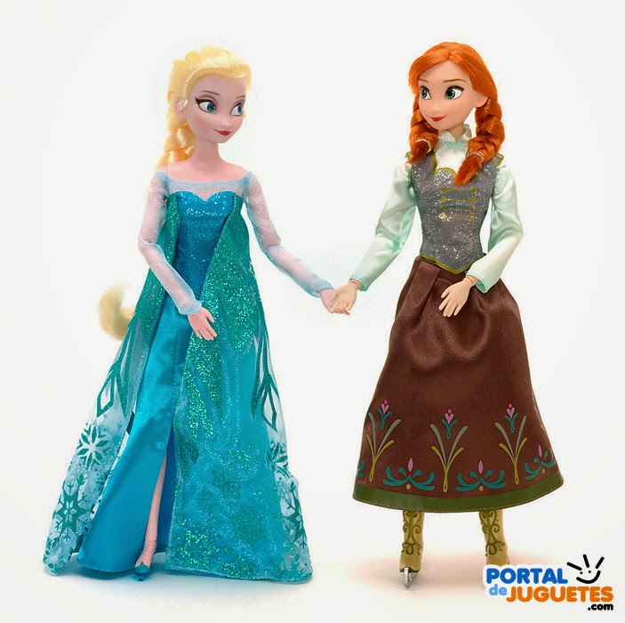 set muñecas elsa anna patinadoras frozen