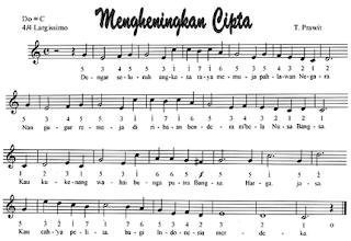 Lagu Mengheningkan Cipta (Not Angka Not Balok)