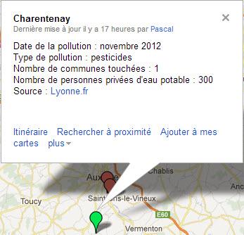 Carte de la pollution de l'eau potable dans l'Yonne