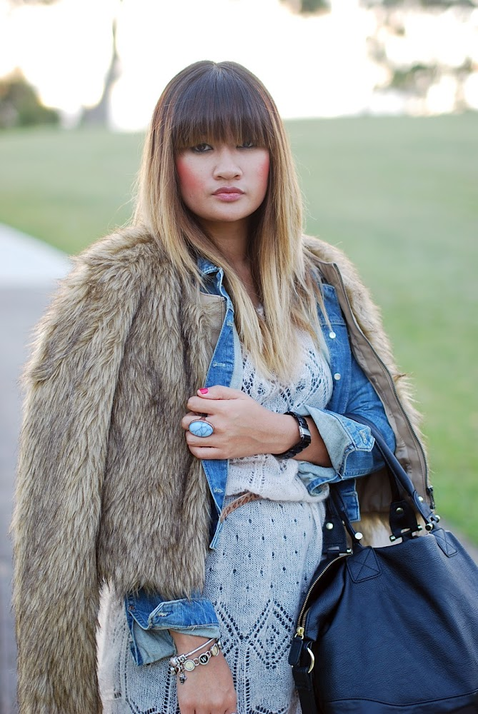 Balayage Dip Dyed Hair Bangs Fringe Brown Blonde