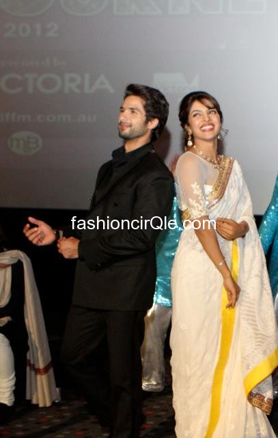 Priyanka chopra cream sari and Shahid  Kapoor in all black -  Priyanka & Shahid- Indian Flim Festival Melbourne -- opening night pics