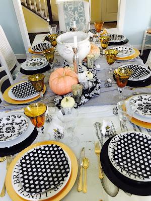 black and white polka dot plates