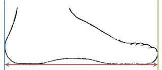 1. Posisikan kaki dengan tumit menempel dinding (garis biru)  2. Tandai bagian ujung kaki yang terpanjang (garis hijau)  3. Ukur jarak dari dinding sampai ke ujung kaki (garis merah)  4. Tambahkan 0,5 - 1 cm untuk kaos kaki