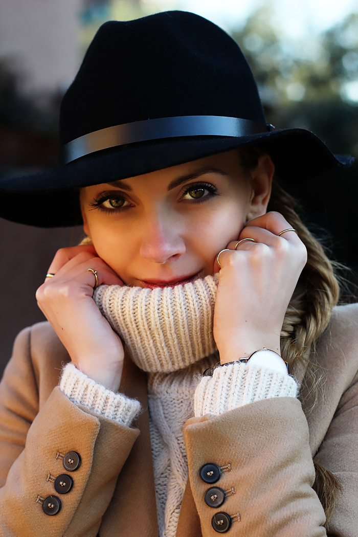 camel coat, fedora, Daniel Wellington watch, fall outfit