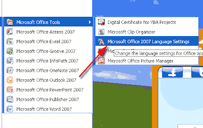 ms office 2007 language settings
