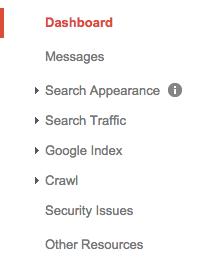 Google Webmaster Tools Menu Guide