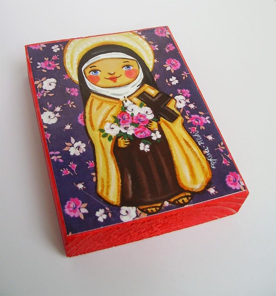 Drewniany obrazek obraz ilustracja święty święta Teresa Lisieux patron święci błogosławiona błogosławiony dla dziewczynki chłopca chłopczyka dziecka prezent upominek na gwiazdkę ozdoba dekoracja bożonarodzeniowa świąteczna Jezus Chrystus Matka Boska Różańcowa różaniec Maryja dziecko pamiątka chrztu chrzest pierwsza bierzmowanie komunia narodziny urodziny
