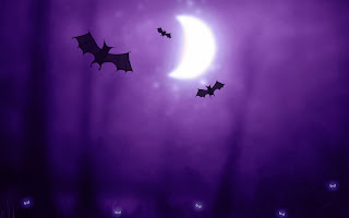 Bats Moon and Flaming Owl Eyes Halloween Wallpaper
