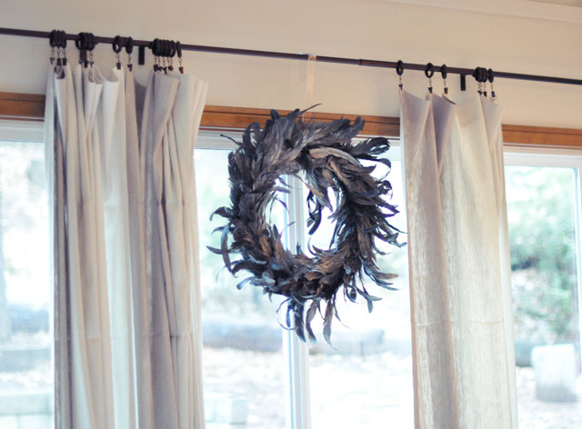 feather wreath on the window
