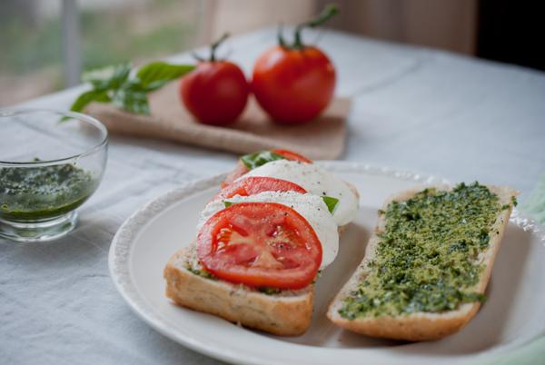 tomato, fresh mozzarella, & basil pesto sandwich..