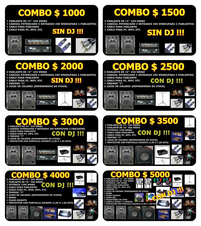 COMBOS DE ALQUILER (sonido, luces, pantalla y karaoke)