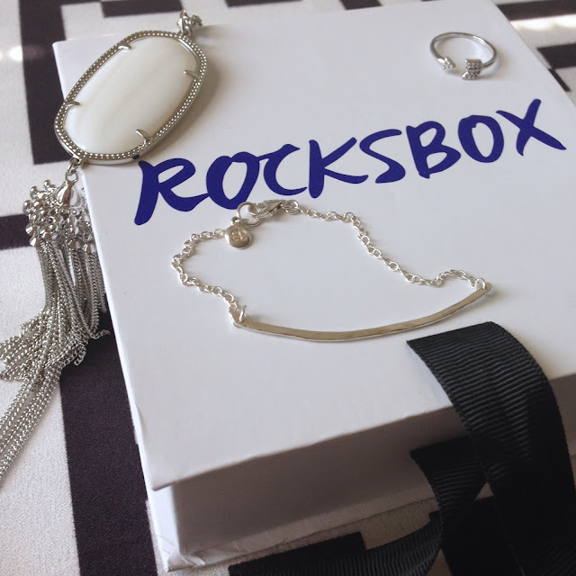 Rocksbox, unboxing, subscription box, Gorjana, Kendra Scott, Rayne, Mother of Pearl, Wanderlust & Co., arrow, silver, necklace, bracelet, ring