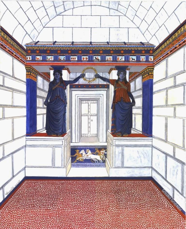 έγχρωμη αναπαράσταση της «Πύλης των Καρυατίδων» στον Τύμβο της Αμφίπολης