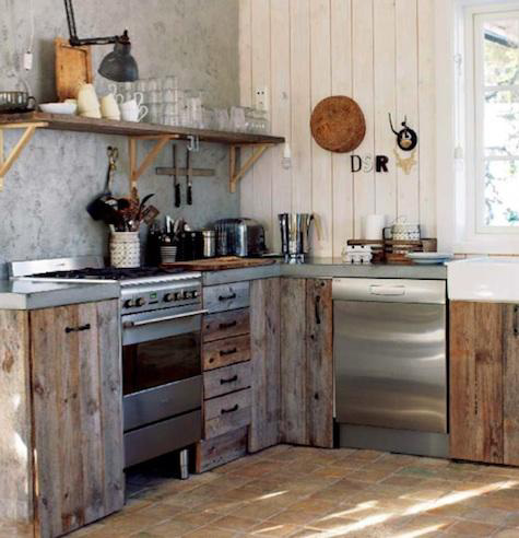 of stainless appliances with the rough barn wood cabinets and drawers