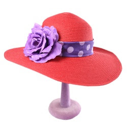 red flowered hat