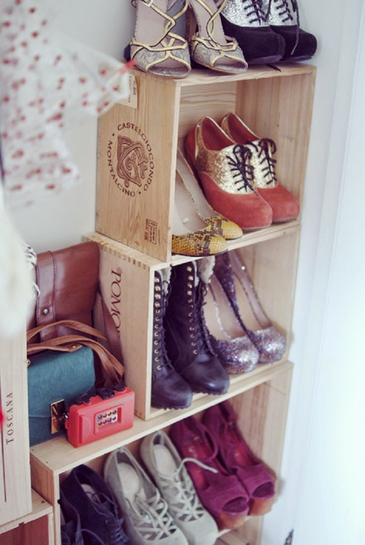 Or you can turn them into storage for shoes. All you have to do is place them sideways against the wall and secure them carefully. & Repurposed Wine Crates Decoration | Do it yourself ideas and projects