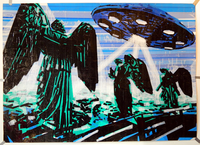 st.petersburg angels sculpture ufo tape art tapeart contemporary russia