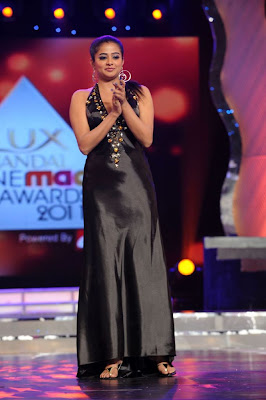 Actress Priyamani in a Black Shining Gown at Lux Cine Maa Awards Function