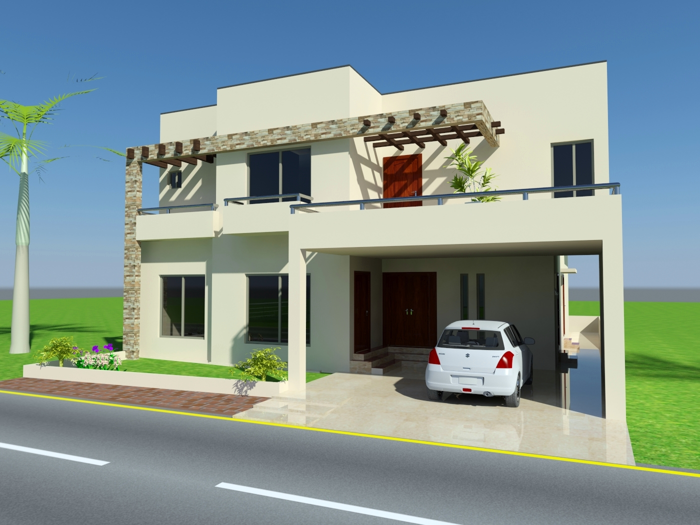 3d front 10 marla house design mian wali for Home design ideas in pakistan