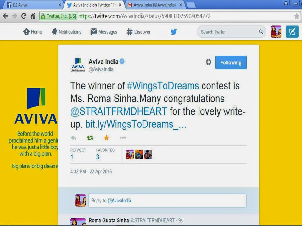 Winner of Blogging Contest by AVIVA