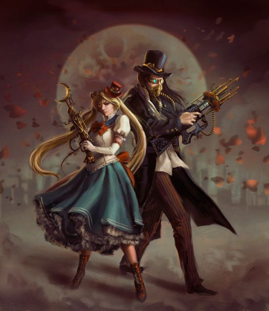 Laura Sava anotherwanderer deviantart ilustrações fantasia belas mulheres Sailormoon steampunk