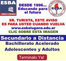 ESBA LUGANO: TODAS LAS CARRERAS DESDE NIVEL INICIAL A TERCIARIO / BACHILLERATO A DISTANCIA
