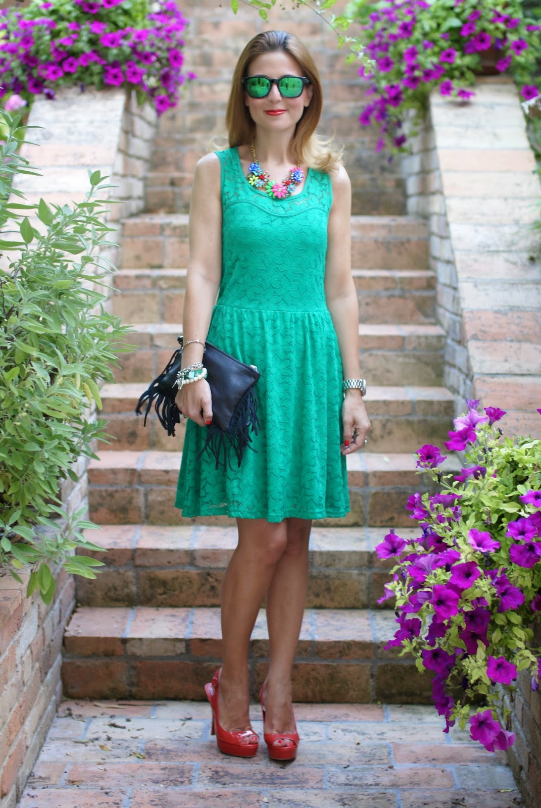 Morgan de toi lace dress, castaner heels, fringed bag, tropical bob hat, oakley green sunglasses, Fashion and Cookies, fashion blogger