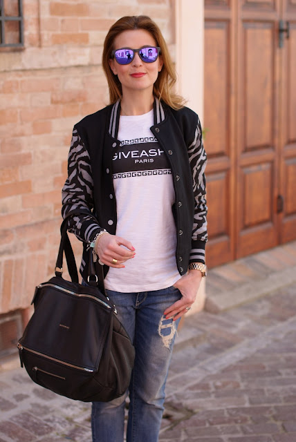 Varsity jacket, Tee trend t-shirt, Givenchy Pandora bag, Fashion and Cookies