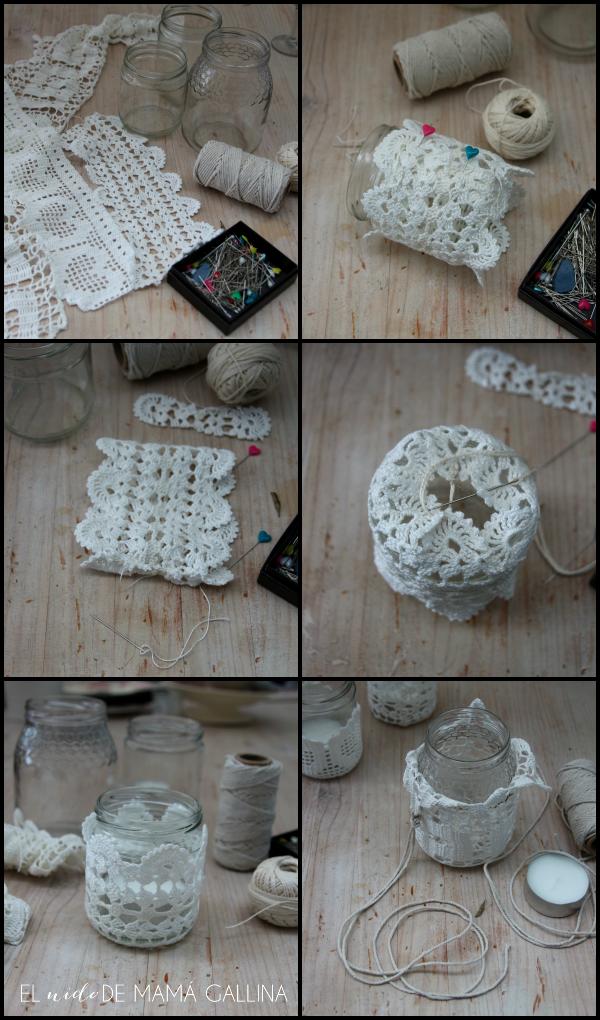 portavelas de crochet
