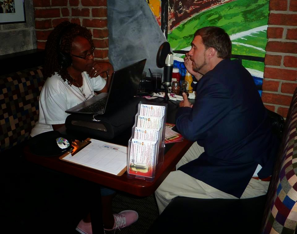 Photo Credit - ROJS Media, LLC IURL Host/Executive Producer Monica RW and 2014 Green Party U.S. Senate Cnadidate Chris Wahmoff during a Live Remote Podcast with TYT Detroit.