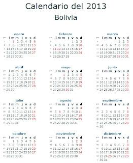 Calendario 2013 Bolivia fiestas feriados