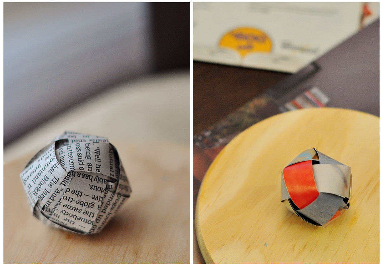 Newspaper ball on left, Magazine on right.