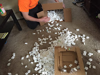 packing peanuts on floor