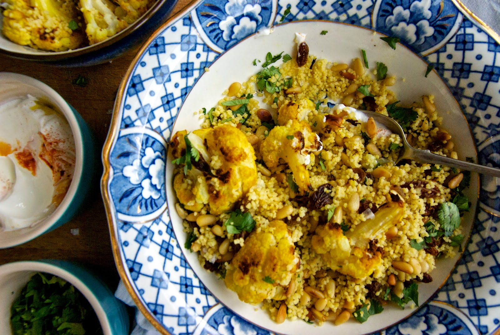 Roasted cauliflower and cous cous salad with yoghurt